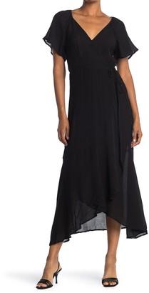 Lush Flutter Sleeve Wrap Maxi Dress