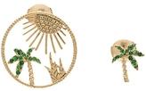Yvonne Leon Palm Tree Sun Earring Set