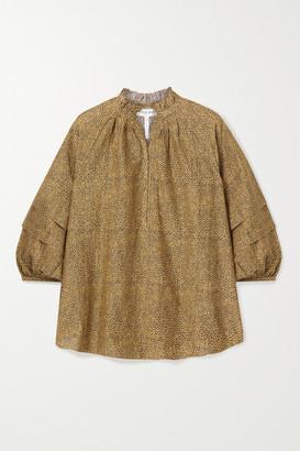 Apiece Apart La Paz Printed Cotton And Silk-blend Top