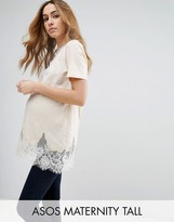 Asos TALL Lace Mix Longline T-Shirt
