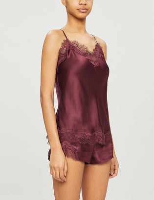 Sainted Sisters Scarlett lace-trimmed satin-silk camisole