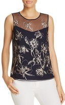 T Tahari Harla Floral Embroidered Top