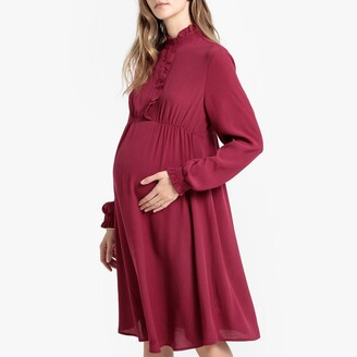 La Redoute Collections Ruffled Maternity Dress with High Neck and Long Sleeves