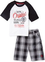 U.S. Polo Assn. White 'USPA' Raglan Tee & Plaid Shorts - Infant Toddler & Boys