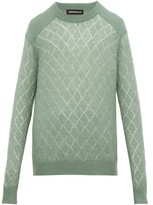 Undercover Diamond-pointelle Sweater - Mens - Light Green