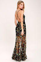 LuLu*s Whimsy Daisy Black Embroidered Maxi Dress
