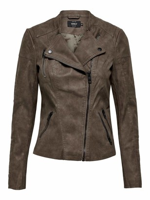 Only Women's Lava Faux Suede Biker leather jacket Long Sleeve Jacket