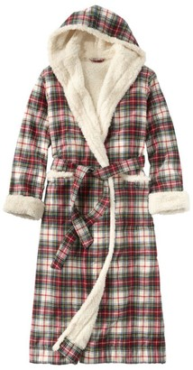 L.L. Bean Women's Scotch Plaid Flannel Robe, Sherpa-Lined Long