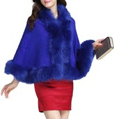 Friendshop Winter Casual Faux Fur Trim Cape Vintage Cloak Style Shawl Stole