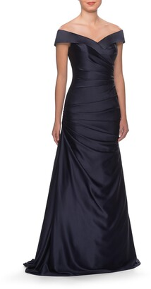 La Femme Off the Shoulder Ruched Satin Mermaid Gown