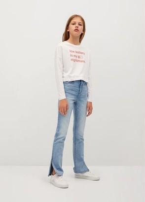 MANGO Side slit medium wash jeans