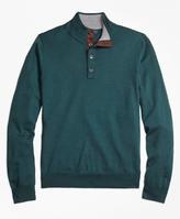 Brooks Brothers Saxxon Wool Button Mockneck Sweater