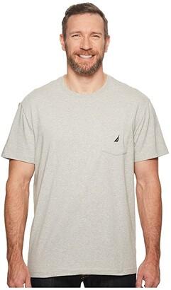 Nautica Big Tall Short Sleeve Anchor Pocket Tee (Grey Heather) Men's Short Sleeve Button Up