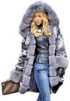 Roiii Plus Size Womens Military Hooded Warm Winter Coats Faux Fur Lined Parkas (M, )