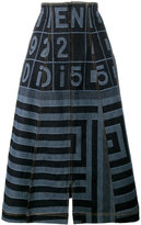 Fendi Denim Midi A-Line Skirt