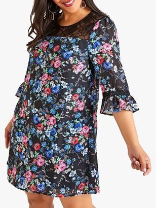 Yumi Curves Midnight Lace Tunic Dress, Black