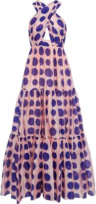 Ulla Johnson Fontaine Polka-dot Cotton And Silk-blend Organza-jacquard Maxi Dress