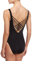Letarte Essentials Lattice-Back One-Piece Swimsuit, Black