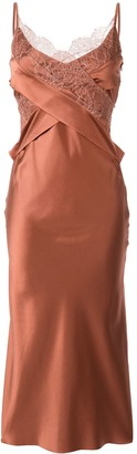 Dion Lee Satin Lace-Panelled Dress