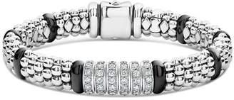Lagos Sterling Silver Black Caviar Rope Bracelet with Diamonds & Black Ceramic