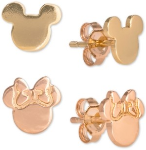 Disney Children's 2-Pc. Set Mickey & Minnie Stud Earrings in 18k Gold- & 18k Rose Gold-Plated Sterling Silver