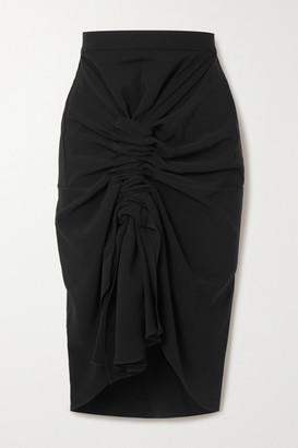 LADO BOKUCHAVA Gathered Crepe Midi Skirt - Black