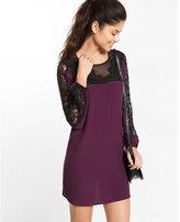 Express lace mix shift dress