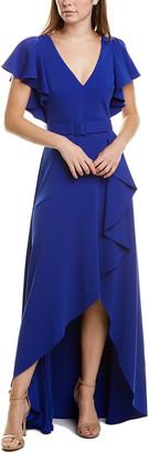 Badgley Mischka Crepe Ruffle Gown