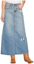 Stetson Long Denim Skirt w/ Back Slit Women's Skirt