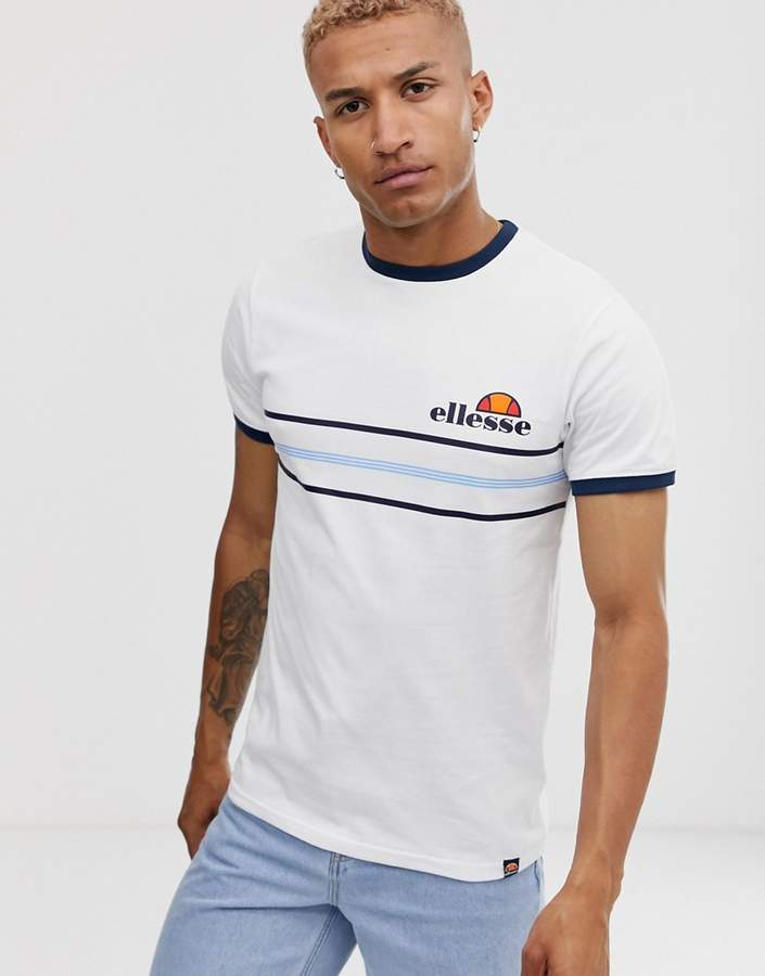 e8304341 Gentario retro stripe panel t-shirt in white