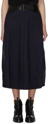Toga Archives Belted leather panel waist wool midi skirt