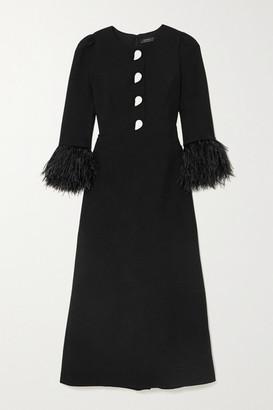 Andrew Gn Feather-trimmed Crystal-embellished Crepe Midi Dress - Black