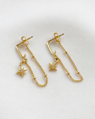 Wanderlust + Co Midnight Drop Gold Earrings