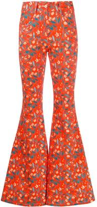 C'Est La V.It Floral Print Flared Trousers