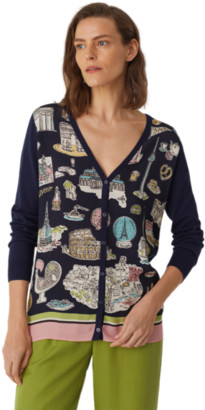 Nice Things Typical Places Print Long V Neck Cardi - S