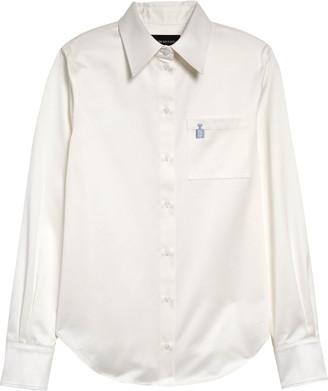 Brandon Maxwell Embroidered Cotton Button-Up Shirt