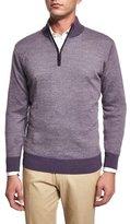 Peter Millar Cashmere-Blend Quarter-Zip Birdseye Sweater, Purple