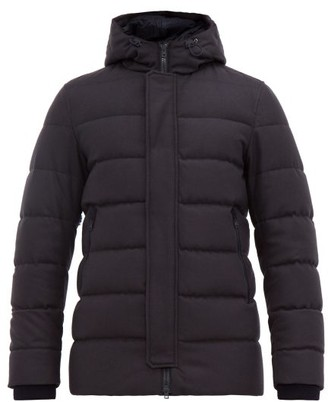 Herno Clive Felted Wool Blend Hooded Jacket - Mens - Navy