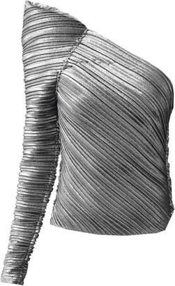 Thierry Mugler Metallic Plisse Jersey Bodysuit