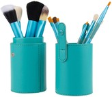 Bliss & Grace 12-Piece Professional Makeup Brush Set in Vegan Leather Travel Case - Turquoise