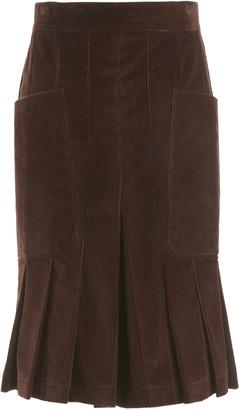 Victoria Beckham Pleated Cotton Corduroy Culottes