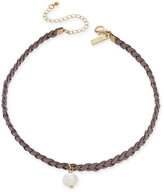 INC International Concepts Gold-Tone Faux-Suede Freshwater Pearl Choker Necklace, Only at Macy's