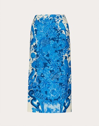 Valentino Printed Crepe Couture Skirt Women Ivory/blue Virgin Wool 65%, Silk 35% 46