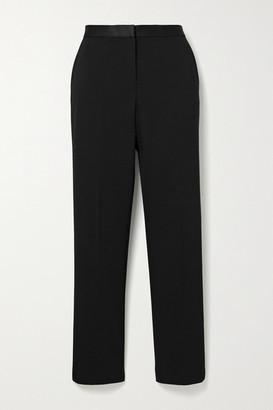 Theory Satin-trimmed Cady Slim-leg Pants