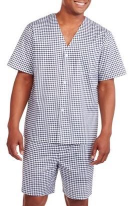 Fruit of the Loom Men's Short Sleeve, Knee-Length Pant Print Pajama Set