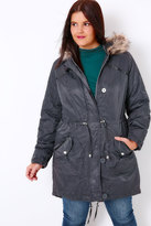 Yours Clothing Dark Grey Metallic Parka Coat With Faux Fur Hood
