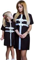 XILALU Summer Family Clothes, Mommy and Me Baby Girl Bowknot Dress Long T-shirt