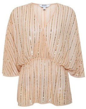 Dorothy Perkins Womens Dp Petite Coral Embellished Batwing Top