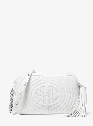 Michael Kors Monogramme Quilted Leather Shoulder Bag - Optic White