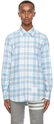 Thom Browne Blue and Pink Flannel Shirt